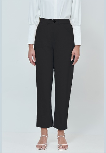 MC Vogue black Emily Black Cotton Straight Pants 1A087AA7274BF9GS_1
