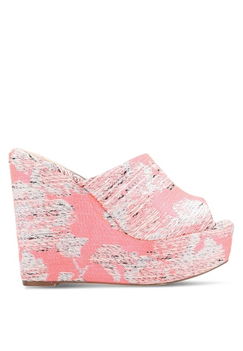 Nose pink Colorful Peep Toe Slide Wedges NO327SH0RC8QMY_1