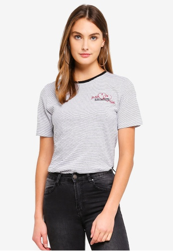 Brave Soul black and white and multi Striped T-Shirt With Embroidery Detail 9C556AABF9EEDCGS_1