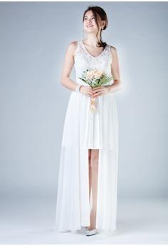 9dc720df61 15% OFF Evening by Karen Liu V Neck Sequin Lace Over Mini Skirt Chiffon  Dress HK  1
