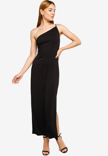 ZALORA OCCASION black Toga Maxi Dress With Slit DD674AAC6832EBGS_1