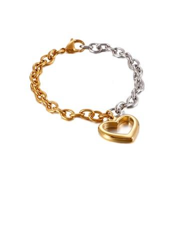 Glamorousky silver Fashion Simple Gold Hollow Heart Shaped Two-tone 316L Stainless Steel Bracelet FFEC5ACEA9B729GS_1
