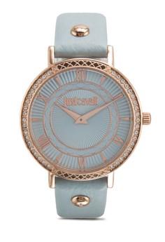 【ZALORA】 R7251527501 Jc Hour 閃鑽雕刻皮革圓錶