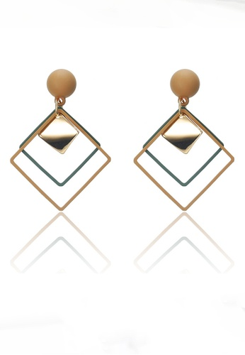 Sunnydaysweety multi Rhombus Drop Earrings CA030208GR F359AAC6F15DD2GS_1