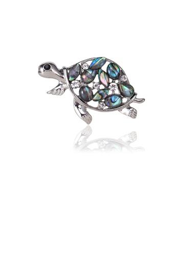 Glamorousky white Fashion Cute Tortoise Brooch with Cubic Zirconia 36A52AC8BA8EECGS_1