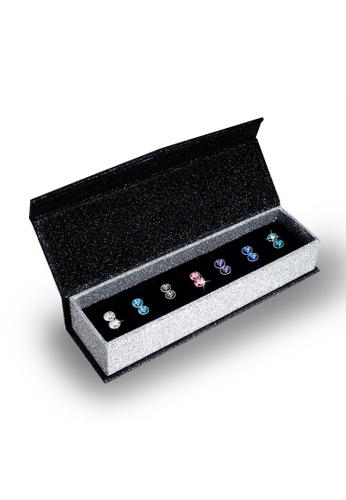Her Jewellery multi Swarovski® Crystals - 7 Days Petite Earrings Set (18K White Gold Plated) Her Jewellery HE581AC0RVSZMY_1