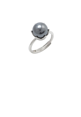 Glamorousky black 925 Sterling Silver Fashion Simple Crown Black Freshwater Pearl Adjustable Ring DBBA6ACFB09A53GS_1