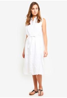 7f2f7ce8137 DKNY white Sleeveless Button Thru Dress With Belt 1E741AAC415FE6GS 1