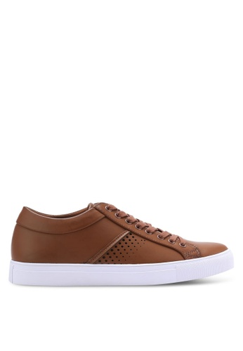 ZALORA brown Faux Leather Sneakers with Perforation Details DCB49SHEC682D0GS_1