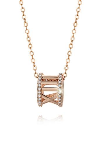 CELOVIS gold CELOVIS - Kenix Roman Numeral Barrel Pendant Necklace in Rose Gold 9F426AC9FDAC25GS_1