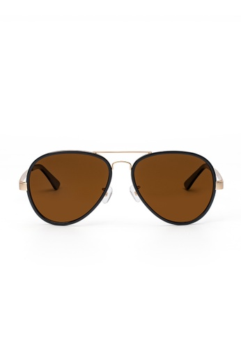 Maverick & Co. brown Maverick & Co. Lowry Aviator Sunglasses  - Gold/Black/Brown 49225GL3E5BE91GS_1