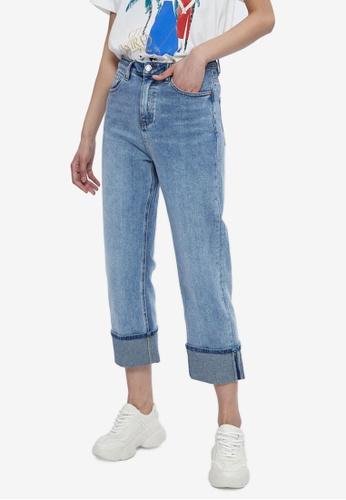 URBAN REVIVO blue Wide Cuff Jeans 1B992AAFE3724DGS_1