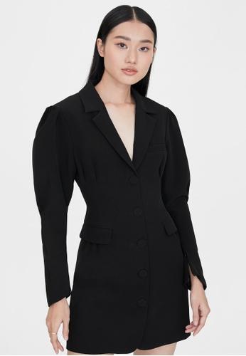 Pomelo black Mini Puffed Sleeve Blazer Dress - Black C8162AAF39A66EGS_1