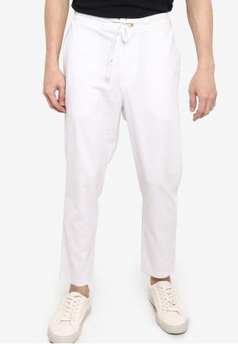 ZALORA BASICS white Linen Trousers BB2B1AAC94CE5DGS_1