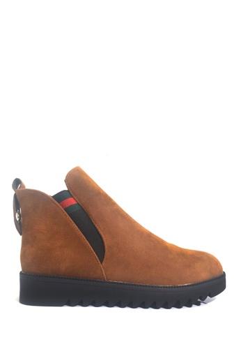 Twenty Eight Shoes brown Elastic Flat Wedge Ankle Boots VB688 C217FSHA9B8D37GS_1