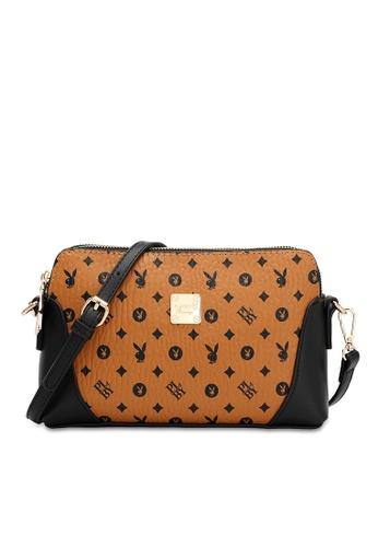 PLAYBOY BUNNY brown Casual Sling Bag 066C4AC31B6269GS_1