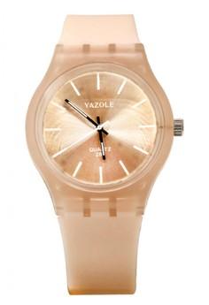 Yazole Deluxe Women's Peach Silicone Strap 288 Watch