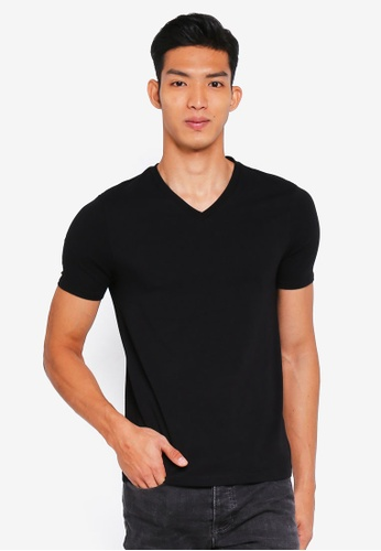 River Island black V Neck Muscle Tee 5F092AAF6A4DE4GS_1