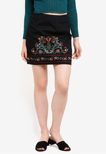 Something Borrowed black Embroidered High Waist Skirt E3A07AA6764816GS_1