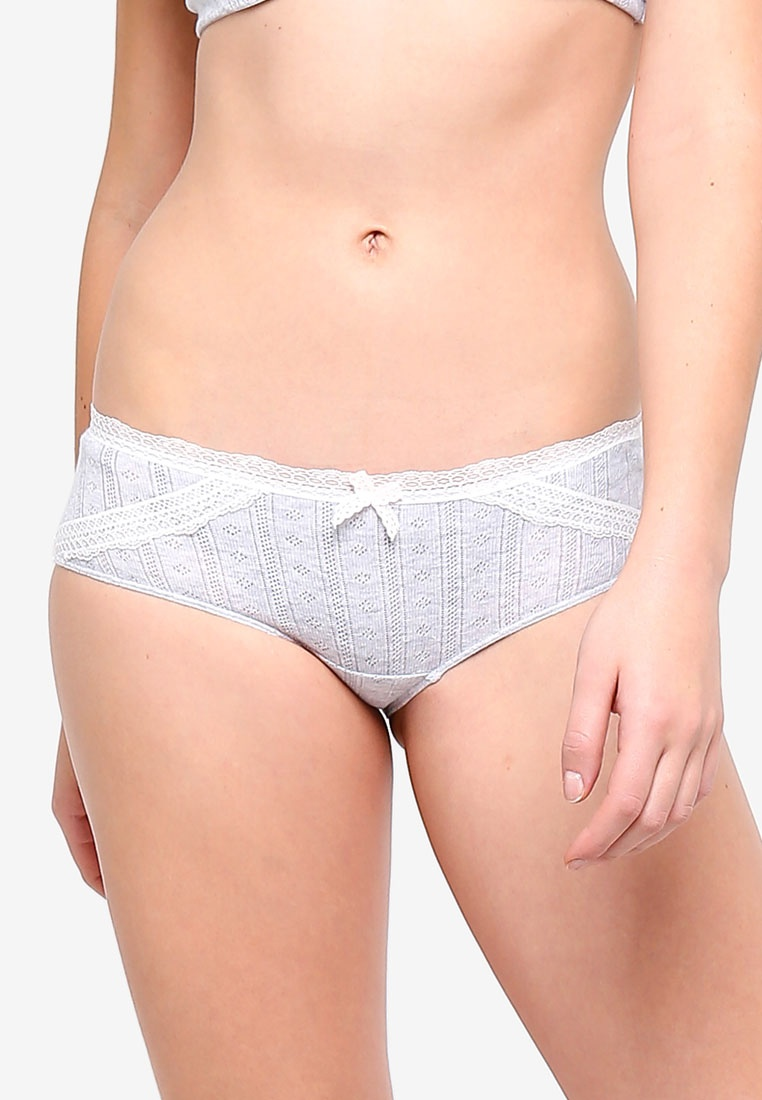 Grey Cotton 6IXTY8IGHT Briefs Shorty Pointelle 0Iz7xz5w