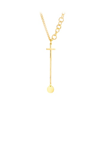 Glamorousky silver Simple and Fashion Plated Gold Cross Tassel Round 316L Stainless Steel Pendant with Necklace D63C8ACE864E56GS_1