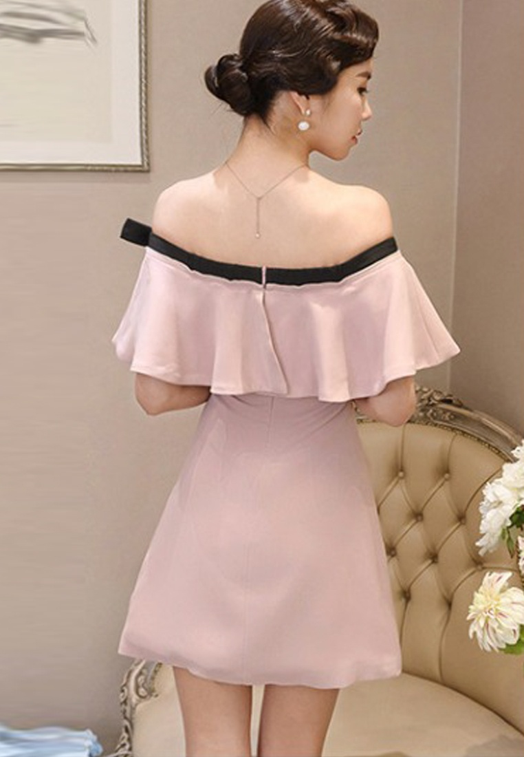 A051630 One Flounce Pink 2018 New Dress Piece Shoulder Off Pink Sunnydaysweety 6qScCB