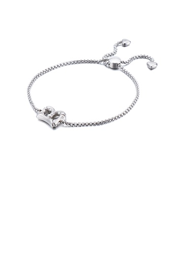 Glamorousky silver Simple and Fashion English Alphabet B 316L Stainless Steel Bracelet 702FEACEB39CACGS_1