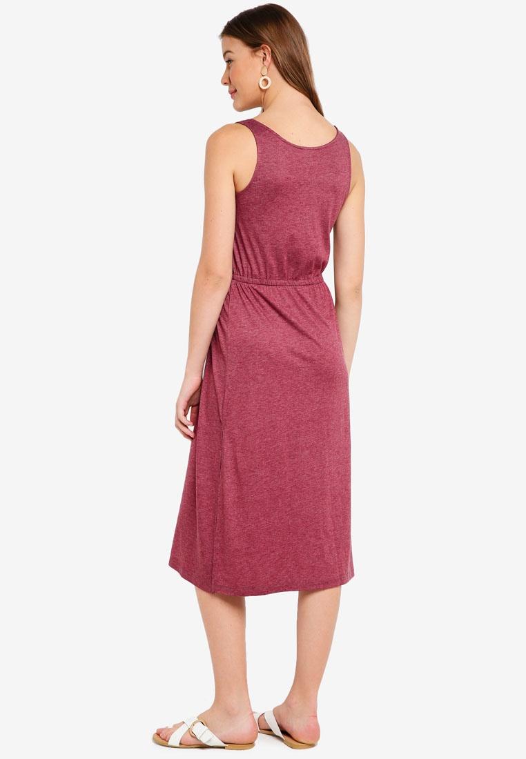 Basic Marl ZALORA Burgundy Dress Drawstring Midi BASICS xOax6PqB