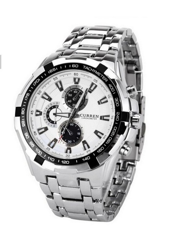 curren white and silver Curren 8023 Men s Stainless Steel Watch (Silver  White) CU537AC17RQOMY 1 228a694cd0e