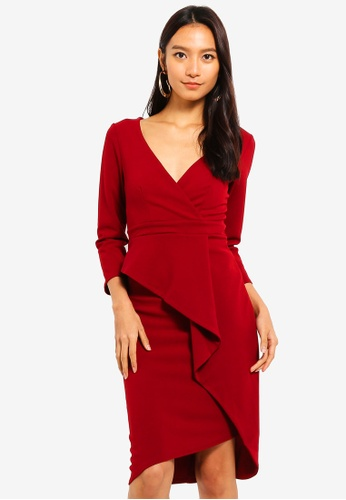 Goddiva red Cross Over Midi Dress With Fold Over Detail 21F89AAA04A1D0GS_1