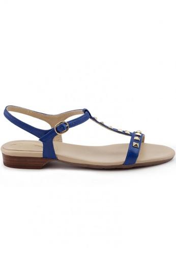 Shu Talk blue Nappa Leather T-Shaped Stub Sandals SH617SH2USDMHK_1