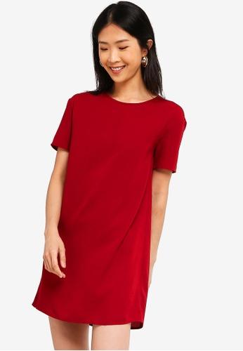 ZALORA BASICS red Basic Boxy Dress 47A42AA7F1B42CGS_1