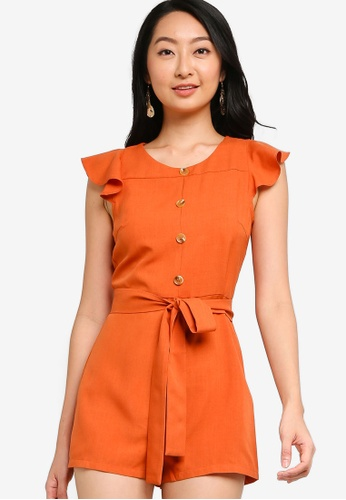 ZALORA BASICS orange Flutter Sleeve Playsuit CB846AA74657BCGS_1