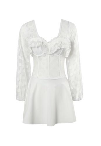 YG Fitness white Sexy Polka Dot Gauze Low V One-Piece Swimsuit 7B379US040C8D5GS_1
