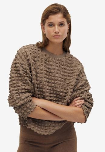 Mango brown Oversized Textured Sweater 81FB9AA816AC55GS_1