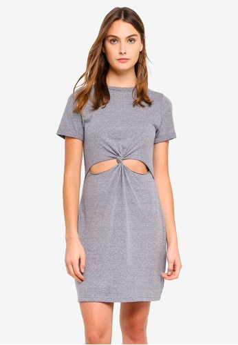Brave Soul grey Short Sleeve Dress With Twisted Front 9565DAA564907BGS_1