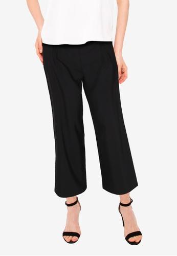 ZALORA BASICS black Self Fabric Long Pants 162D4AACD8C722GS_1