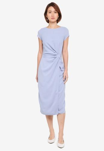 Dorothy Perkins blue Blue Manipulated Midi Dress DA1E7AAF6B5543GS_1