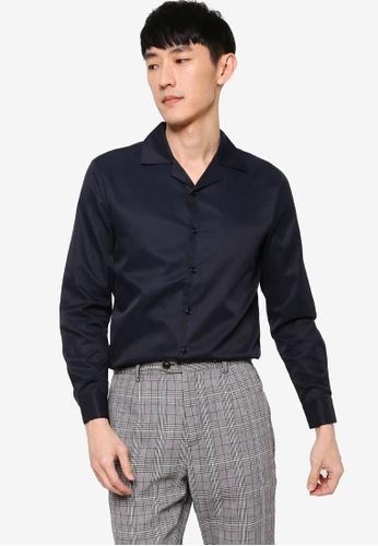 ZALORA BASICS navy Slim Fit Revere Collar Smart Shirt FB949AAD0933F5GS_1