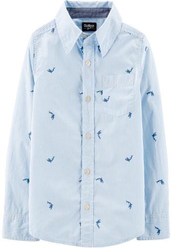Oshkosh B'gosh blue OSH KOSH Boy Whale Print Long Sleeve Shirt DBB82KAA0AED98GS_1