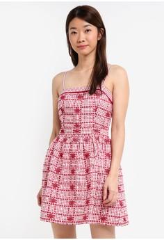 細肩帶格紋短洋裝