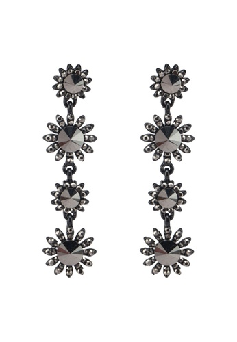 Dandelion black Full Black Crystal Flower Earrings 1E182AC6C866E1GS_1