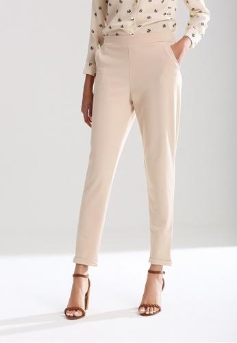 London Rag beige Elastic Waist Pants FED32AA4EFDFA6GS_1