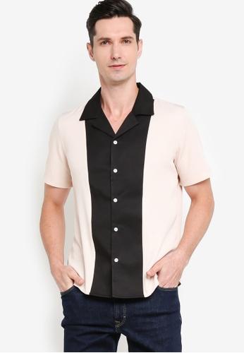 ZALORA BASICS 多色 Camp Collar Front Panel Shirt 0D099AA02A3A88GS_1