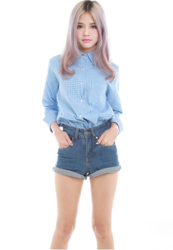 Sophialuv blue Ciara Checks Shirt in Light Blue checks 007DDAABC330F5GS_1
