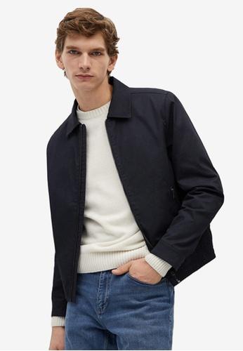 MANGO Man blue Zipper Cotton Jacket 0518FAAC07192FGS_1