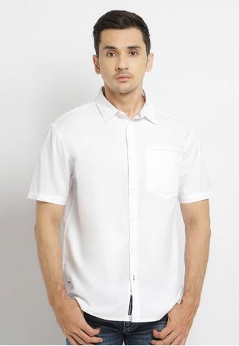 Osella white Osella Baju Pria Kemeja Polos Putih Linen Look 828EDAA864BF79GS_1