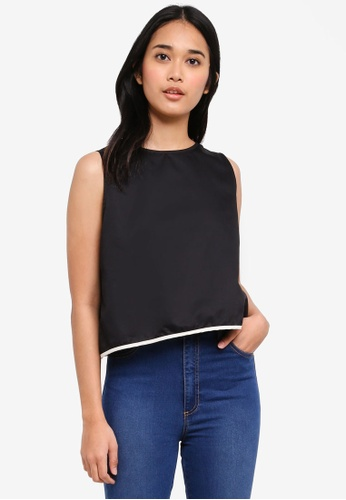 Penshoppe black Semi Fit Tank Top With Contrast Trim A1250AAE99D3A9GS_1