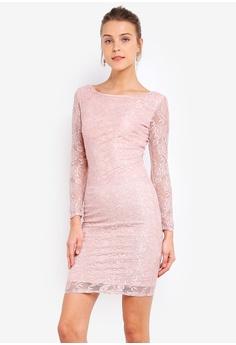 eea6a2d49d Goddiva pink Long Sleeve Bodycon Dress 01F54AA776C436GS_1