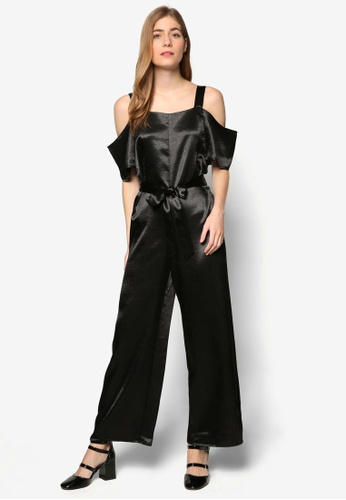 TOPSHOP black Satin Cold Shoulder Jumpsuit TO412AA79YLSMY_1